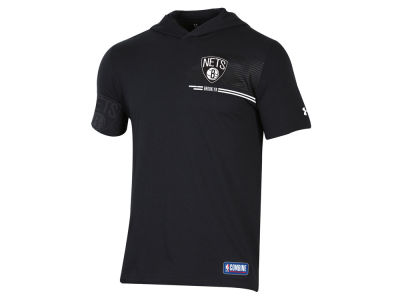 Brooklyn Nets Under Armour NBA Men's Baseline Short Sleeve Hooded T-Shirt