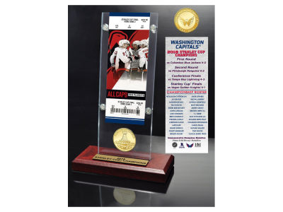 Washington Capitals Highland Mint 2018 NHL Stanley Cup Champs Ticket Bronze Coin Acrylic Desk Top