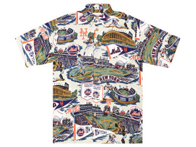 New York Mets MLB Men's Aloha Print Button Up