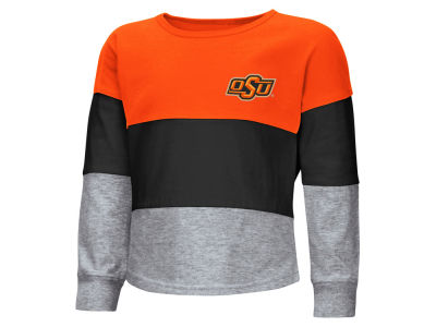 Oklahoma State Cowboys Colosseum NCAA Toddler Girls Tricolored Long Sleeve T-Shirt