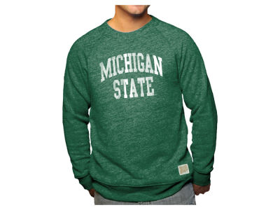 Michigan State Spartans Retro Brand NCAA Men's Tri-blend Fleece Crew Sweatshirt