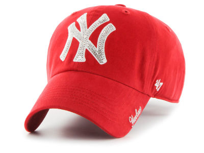 New York Yankees '47 MLB Women's Red Sparkle CLEAN UP Cap