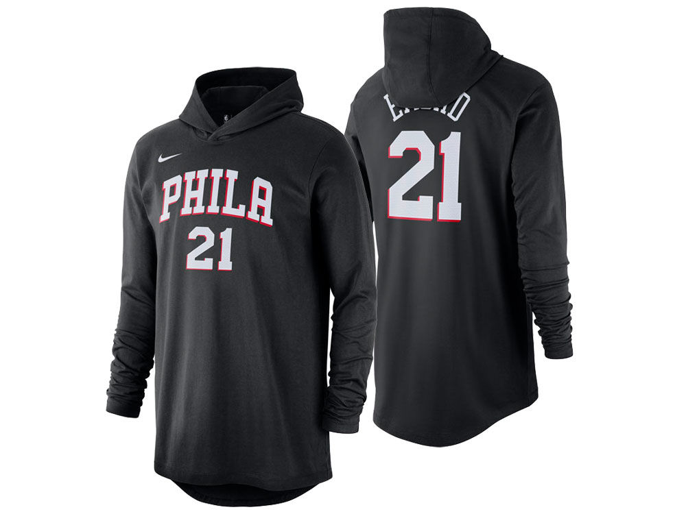 6e00b250c Philadelphia 76ers Joel Embiid Nike NBA Men s Hooded Player Name and Number  Long Sleeve T-Shirt