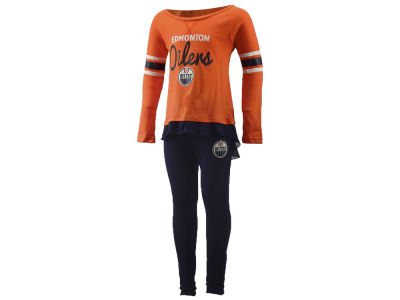 Edmonton Oilers NHL Kids Girls Show Off Long Sleeve Top and Pant Set
