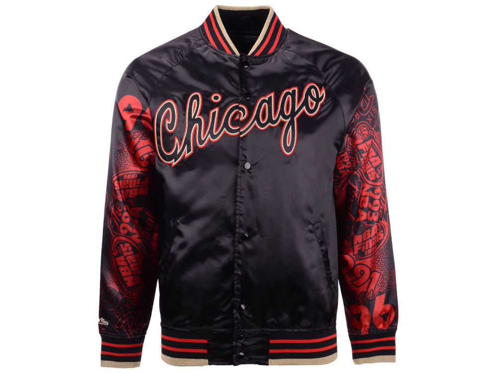 Chicago Bulls Mitchell   Ness NBA Men s Chicago 6 Ring Collection Satin  Jacket  f48dcd2058