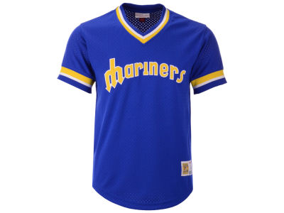 Seattle Mariners Mitchell & Ness MLB Men's Mesh V-Neck Jersey