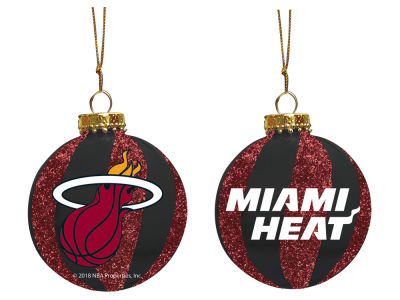 "Miami Heat Memory Company 3"" Sparkle Glass Ball Ornament"