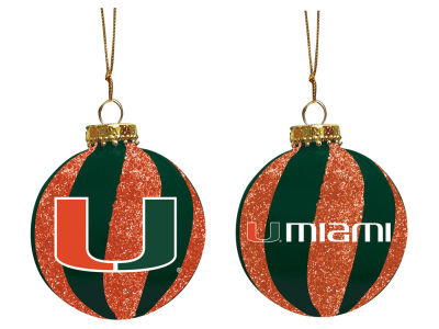 "Miami Hurricanes Memory Company 3"" Sparkle Glass Ball Ornament"