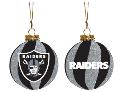 "Oakland Raiders Memory Company 3"" Sparkle Glass Ball Ornament"