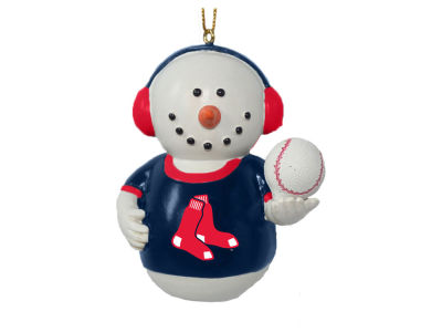 Boston Red Sox Memory Company Snowman With Earmuffs Ornament