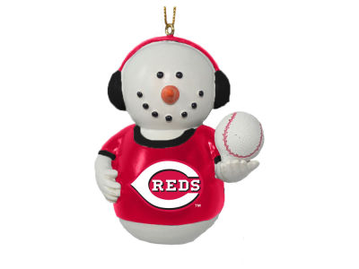 Cincinnati Reds Memory Company Snowman With Earmuffs Ornament