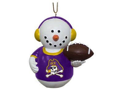East Carolina Pirates Memory Company Snowman With Earmuffs Ornament