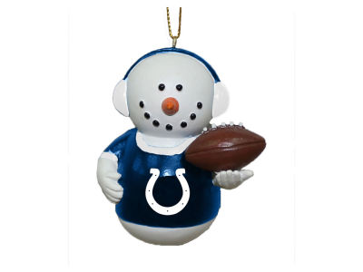 Indianapolis Colts Memory Company Snowman With Earmuffs Ornament