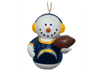 Los Angeles Chargers Memory Company Snowman With Earmuffs Ornament