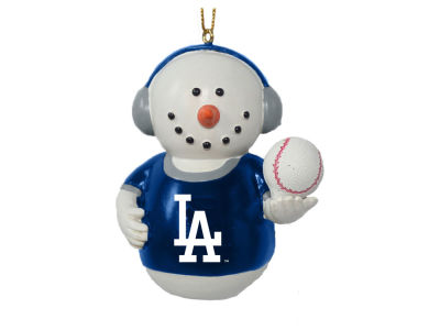 Los Angeles Dodgers Memory Company Snowman With Earmuffs Ornament
