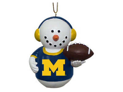 Michigan Wolverines Memory Company Snowman With Earmuffs Ornament
