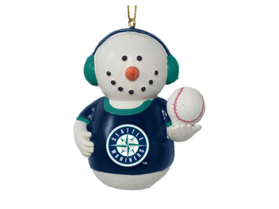 Seattle Mariners Memory Company Snowman With Earmuffs Ornament