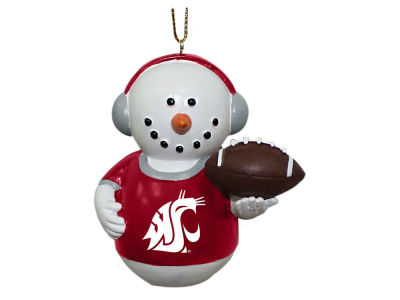 Washington State Cougars Memory Company Snowman With Earmuffs Ornament
