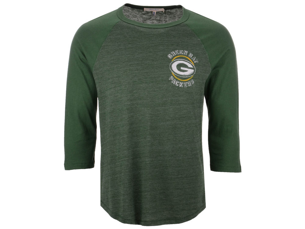 982163f20 Green Bay Packers Junk Food NFL Men s End Around 3 4 Raglan T-Shirt ...