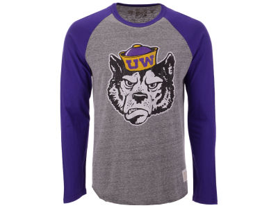 Washington Huskies Retro Brand NCAA Men's Team Logo Long Sleeve Raglan T-Shirt