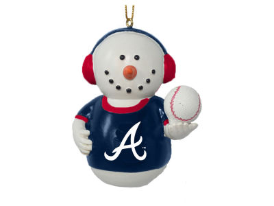 Atlanta Braves Memory Company Snowman With Earmuffs Ornament