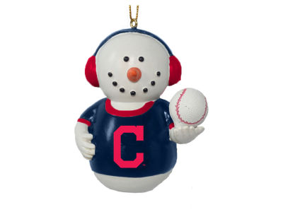 Cleveland Indians Memory Company Snowman With Earmuffs Ornament