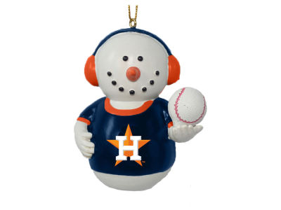 Houston Astros Memory Company Snowman With Earmuffs Ornament