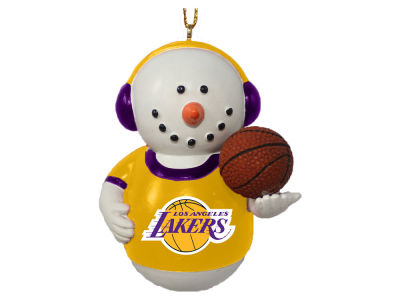 Los Angeles Lakers Memory Company Snowman With Earmuffs Ornament