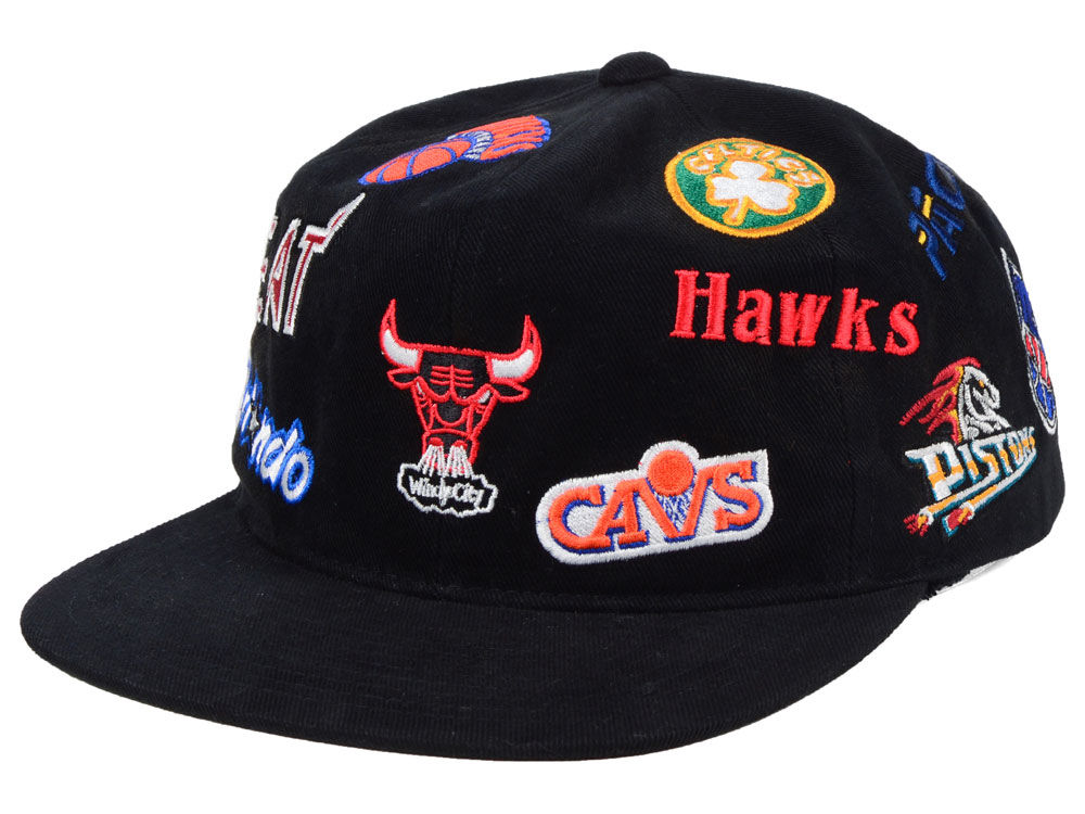 NBA Logo Mitchell   Ness NBA All Over Collection Snapback Cap  22fa609e4