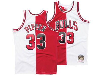 Chicago Bulls Scottie Pippen Mitchell   Ness NBA Men s Split Swingman Jersey 2f92da63e