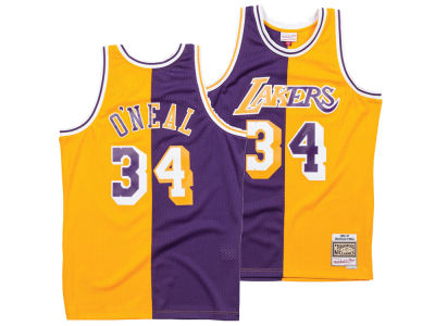 09794e8c3 Los Angeles Lakers Shaquille O Neal Mitchell   Ness NBA Men s Split  Swingman Jersey