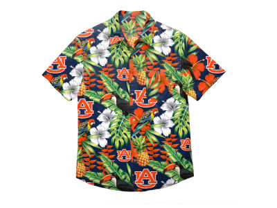 Auburn Tigers NCAA Men's Floral Button Up Shirt