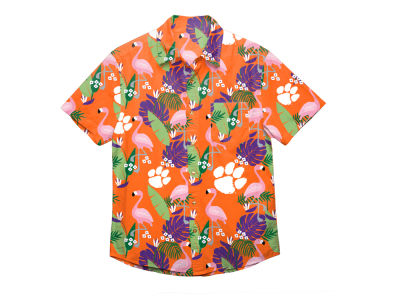 Clemson Tigers NCAA Men's Floral Button Up Shirt