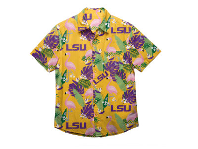 LSU Tigers NCAA Men's Floral Button Up Shirt