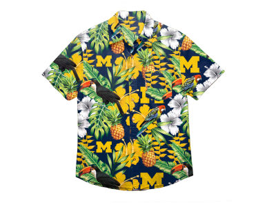 Michigan Wolverines NCAA Men's Floral Button Up Shirt
