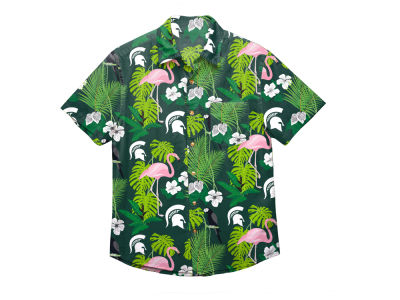 Michigan State Spartans NCAA Men's Floral Button Up Shirt