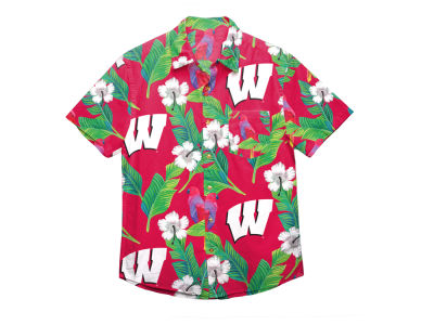 Wisconsin Badgers Forever Collectibles NCAA Men's Floral Button Up Shirt