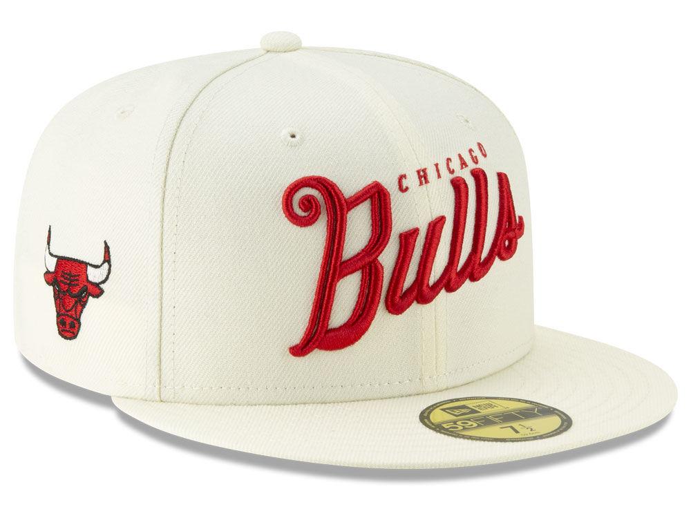 15c74a98ba8 Chicago Bulls New Era NBA Jersey Script 59FIFTY Cap