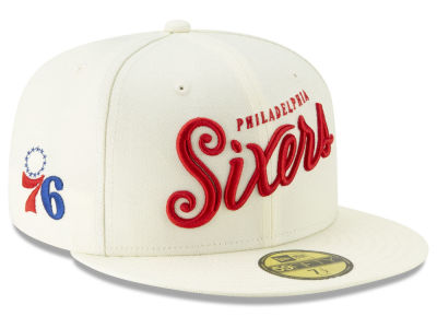 Philadelphia 76ers New Era NBA Jersey Script 59FIFTY Cap