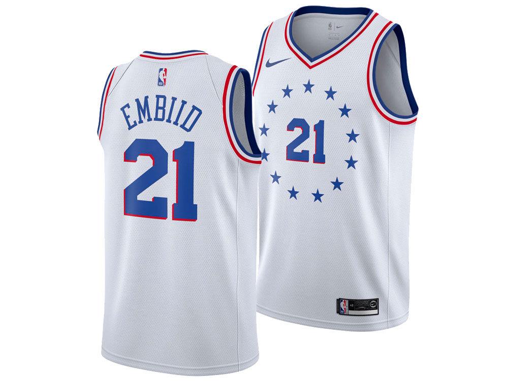 a81a3c0ed Philadelphia 76ers Joel Embiid Nike 2018 NBA Youth Earned Edition Swingman  Jersey