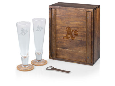 Oakland Athletics Picnic Time Boxed Pilsner Glass Set