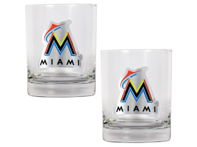 Miami Marlins Great American 2 Piece - 15oz Rocks Glass Set
