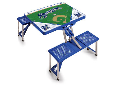 Milwaukee Brewers Picnic Time Picnic Table Portable Folding Table with Seats