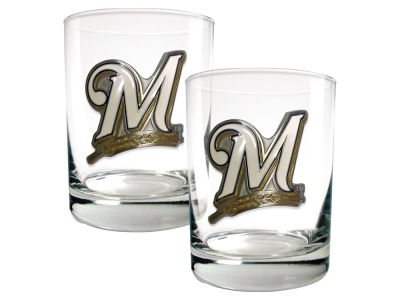 Milwaukee Brewers Great American 2 Piece - 15oz Rocks Glass Set