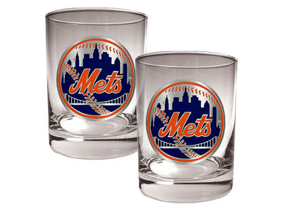 New York Mets Great American 2 Piece - 15oz Rocks Glass Set