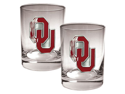 Oklahoma Sooners Great American 2 Piece - 15oz Rocks Glass Set