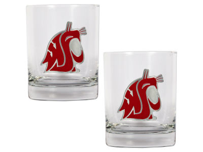Washington State Cougars Great American 2 Piece - 15oz Rocks Glass Set
