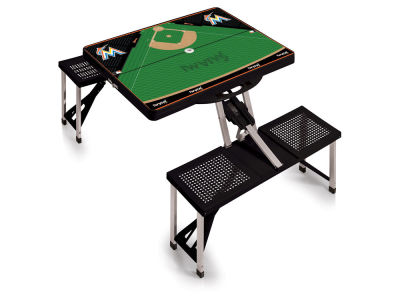 Miami Marlins Picnic Time Picnic Table Portable Folding Table with Seats