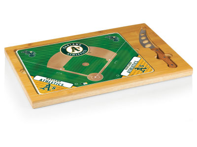 Oakland Athletics Picnic Time Icon Glass Top Serving Tray & Knife Set