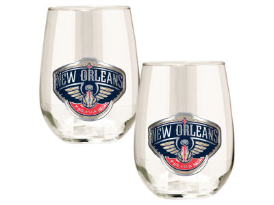New Orleans Pelicans Great American 2pc 16oz Stemless Wine Glass Set